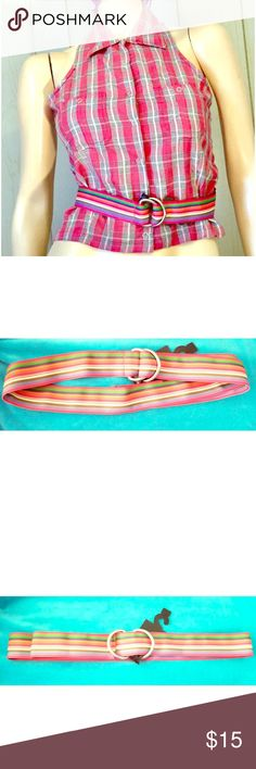 """Vintage Rainbow Striped Fabric Cinch Belt NEW Super Funky vintage 70s/80s Retro rainbow striped fabric cinch belt, NWT/NOS. Fully adjustable, threads through buckle. Bright multicolored print.   Size: L Brand: Fermi&Telsa 100% Polyester Approx 41"""" in total length Condition: NEW Vintage Accessories Belts"""