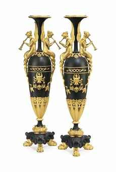 A PAIR OF FRENCH OR RUSSIAN ORMOLU AND PATINATED BRONZE VASES