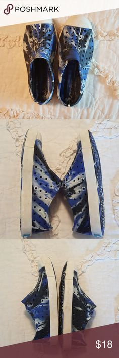 Native shoes little kids size 13 Blue, black, and white marbled Native shoes greatly loved by my son but now too small, their feet grow so fast! Native Shoes Water Shoes