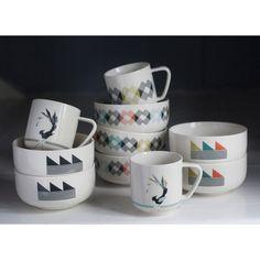 Gullfuglen (The Golden Bird) porcelain collection, multicoloured. Cup, plate, bowl and vase. Cool Furniture, Scandinavian, Grey Cup, Porcelain, Plates, Bird, Mugs, Interior Design, Product Design