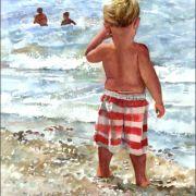 Children on the Beach - Judith Stein Watercolors, US.