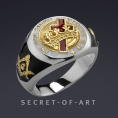 f6bbc987234 Knights Templar In hoc signo vinces Masonic Ring Freemason 925 Silver with  24K Gold-Plated Parts