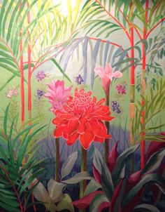 'Ginger flowers in Singapore' by David Worrall. Size 71cms wide x 91cms long. The painting is a compilation of various plants and flowers seen in Singapore Botanical Gardens, influenced by the great variety of plants and colour in the gardens. The central focus of the painting is on flowers from the varied Ginger plants shown in the Ginger section of the gardens.