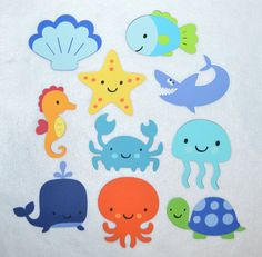 Listing is for a set of 10 Large Brightly Colored Under the Sea die cuts. Set includes Whale Jellyfish Fish Seahorse Octopus Crab Turtle