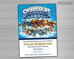 Skylanders Digital Invitations Birthday Party Birthdays