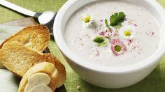 Rezept: Cremige Radieschensuppe mit Gänseblümchen