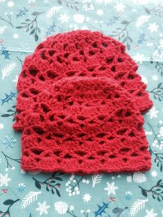 Check out this item in my Etsy shop https://www.etsy.com/ca/listing/86095171/fire-engine-red-crochet-lacey-beanie-two