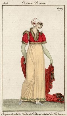 Red spencer and shawl 1806 Costume parisien