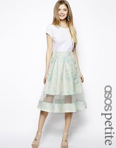 Worn with soft grey blouse, white/grey/crystal statement necklace, and matching bright coral lips and heels.  ASOS PETITE Exclusive Organza Insert Jacquard Midi Skirt
