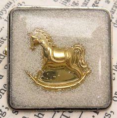 Snowy Glitter Rocking Horse Resin Brooch  Handmade by wiggelhevin, $25.00