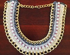 Gorgeous Handmade Crochet Statement Necklace with Rhinestones and Gold Plated Chain Links