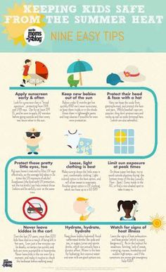 Keep Kids Safe from Summer Heat: 9 Easy Tips - Infographic Summer Safety Tips, Safety Posters, Water Safety, Summer Heat, Summer Sun, Summer Days, Child Safety, Emergency Preparedness, Health And Safety