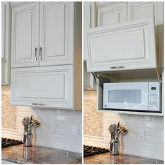 Seeking Creative Ways to Hide Your Kitchen Appliances? Kitchen appliances and gadgets make our lives easier, but who needs them cluttering the kitchen? We have 5 ideas to hide appliances, but keep them accessible. Microwave In Kitchen, Hidden Kitchen, Kitchen Cupboards, Kitchen Appliances, Microwave Above Stove, Hidden Microwave, Microwave Shelf Cabinet, Vintage Appliances, Microwave Storage