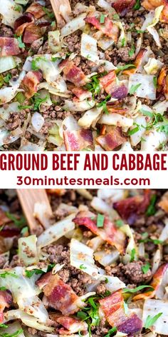 Ground Beef and Cabbage is a flavorful yet simple dinner idea that cooks up in one pan, in just under 20 minutes. This easy dinner recipe is budget friendly, and kids love it, too! #easyrecipe #30minutemeal #30minutesmeals #onepan #easydinner Pork Recipes For Dinner, Italian Dinner Recipes, Entree Recipes, Lamb Recipes, Lunch Recipes, Salad Recipes, Keto Recipes, Chicken Recipes, Fast Healthy Meals