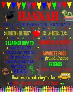 Custom Kindergarten Graduation Chalkboard by LaLaExpressions, $25.00