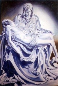 Pieta - I copied this from a photo in a library book of the famous Michelangelo sculpture. 24″ x 36″     It's mostly just Ultramarine Blue and Titanium White paint.