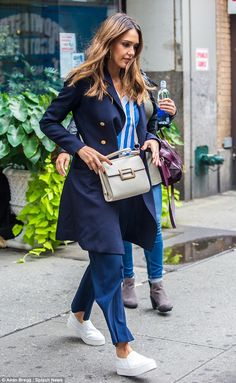 Stylish sidewalk sighting: The 35-year-old actress and entrepreneur cut a chic figure in b...