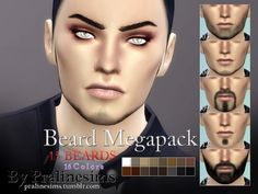 The Sims Resource: Beard Megapack~ 15 Beards by Pralinesims • Sims 4 Downloads