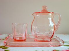 Pink depression glass - love!