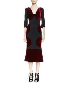 B3DNQ Roland Mouret Bald Half-Sleeve Combo Midi Dress, Burgundy/Black