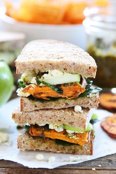 Roasted Sweet Potato Sandwich with Apples, Pesto, Kale, and Blue Cheese Recipe from from @twopeasandpod