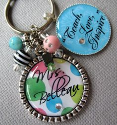 Teach Love Inspire Teacher Gift PERSONALIZED Name by buttonit, $22.00