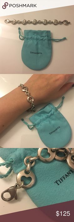 Tiffany open heart chain link bracelet Original authentic .925  silver, limited 1999 edition authentic Tiffany & co. Jewelry bag included  Tiffany & Co. Jewelry Bracelets