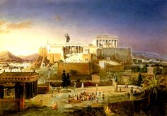 A reconstruction of ancient Athens at the time of Pericles, painted by the great neo-classical architect, Von Klenze