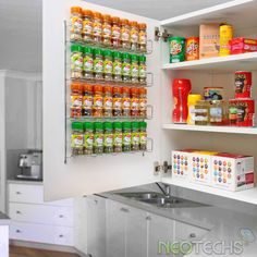 Kitchen shelves for small spaces spice rack ideas for small spaces unique kitchen storage ideas easy . Kitchen Organisation, Diy Kitchen Storage, Kitchen Cupboards, Diy Storage, Diy Organization, Kitchen Decor, Storage Ideas, Attic Storage, Creative Storage