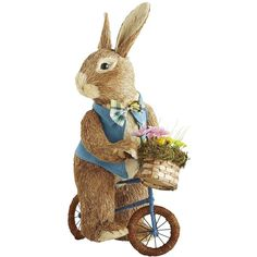 Pier 1 Imports Brown Natural Biking Bunny ($35) ❤ liked on Polyvore featuring home, home decor, brown, pier 1 imports, easter home decor, bike home decor, rabbit home decor and bicycle home decor