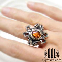 MOORISH GOTHIC Wedding Band Green Peridot n White CZ  Engagement Ring