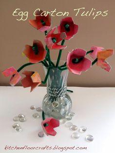 Kitchen Floor Crafts: Egg Carton Tulips