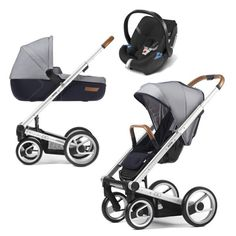 Mutsy Igo Set Urban Nomad Leather Handle + Carrycot + Cybex Aton 4 standard lite white & blue blau - Collection 2015 on Prams.net.