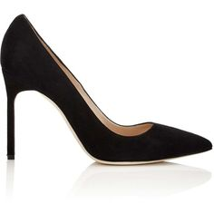 Manolo Blahnik Women's BB Pumps ($595) ❤ liked on Polyvore featuring shoes, pumps, black, black slip on shoes, black slip-on shoes, black pumps, black suede shoes and black shoes
