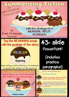 Summarizing fiction with the ice cream sundae analogy! $