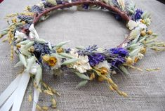 Handmade Wildflower Wedding Flower Crown of Lavender, Larkspur, Flax, Dried Flowers and Daisies ❤️SHIPPING DETAILS Please consider shipping timing when ordering. BECAUSE OUR CALENDAR IS VERY FULL AND WE WILL BE HARVESTING LAVENDER SOON, THIS ITEM will ship in 4 WEEKS from date of