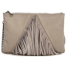 Bungalow 20 Flint gray leather fringe double zipper clutch (€79) ❤ liked on Polyvore featuring bags, handbags, clutches, flint gray, leather purse, cross body handbags, purse, crossbody purse and fringe crossbody