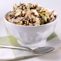 Wild Rice Stuffing:  A hearty partner for turkey, this low-carb side dish is easy to make ahead and heat up just before the feast -- keeping you free to enjoy your company. Best of all, it has just 66 calories and 1 gram of fat per serving!
