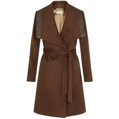 Planet Vicuna Belted Coat, Brown (24 KWD) ❤ liked on Polyvore featuring outerwear, coats, jackets, coats & jackets, wrap coat with belt, wool blend wrap coat, wool-blend coat, plus size wool blend coats and plus size coats
