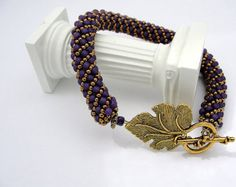 Purple and Gold Beaded Russian Spiral Bracelet