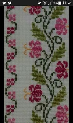 This Pin was discovered by Ada Cross Stitch Borders, Cross Stitch Rose, Cross Stitch Flowers, Cross Stitch Designs, Cross Stitching, Cross Stitch Patterns, Embroidery Flowers Pattern, Ribbon Embroidery, Cross Stitch Embroidery