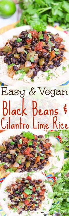 15 Minute Easy & Vegan Black Beans & Rice recipe.  A healthy, simple, clean and fast vegetarian meal, dinner or lunch.  Also great as a side dish with Mexican or Tex Mex food! Uses canned beans and tomatoes as a shortcut.  Perfect for Meatless Monday! / Running in a Skirt