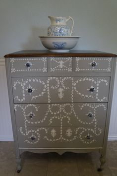 French Linen chalk paint hand-painted chest of drawers