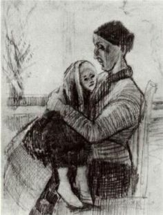 DEN HAAg jan.- febr. 1882 / Sien met kind op haar schoot / Sien with Child on her Lap - Vincent van Gogh