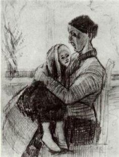 DEN HAAg jan.- febr. 1882 / Sien met kind op haar schoot / Sien with Child on her Lap - Vincent van Gogh