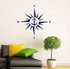 Compass Wall Decal Nautical Compass Rose Vinyl Sticker Wall Graphics Home Interior Wall Decor (1c01s) BestDecalsUSA http://www.amazon.com/dp/B00Y4Q74UA/ref=cm_sw_r_pi_dp_BkgXwb193EG6X