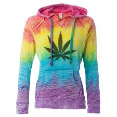 Rainbow Tie Dyed Hoodie Pullover Vintage Style Burnout Sweatshirt Weed... ($38) ❤ liked on Polyvore