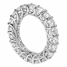 SALE!! 3.75 CT TW Round Diamond Braided Prongs Eternity Wedding Ring in 14k White Gold REVIEW