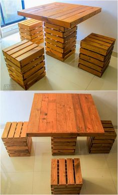Cubic Pallet Wood Dining Table with Stools Cubic building like pallet wood table is a more innovativ Pallet Furniture Designs, Wooden Pallet Furniture, Wood Pallets, Diy Furniture, Furniture Online, Pallet Stool, Pallet Dining Table, Dining Table Design, Diy Pallet Projects