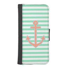 Mint Stripes Peach Anchor Nautical iPhone 5 Wallet Cases #iphone #walletcase #wallet #tech #nautical #anchor #sailor #stripes #sea #mint #peach